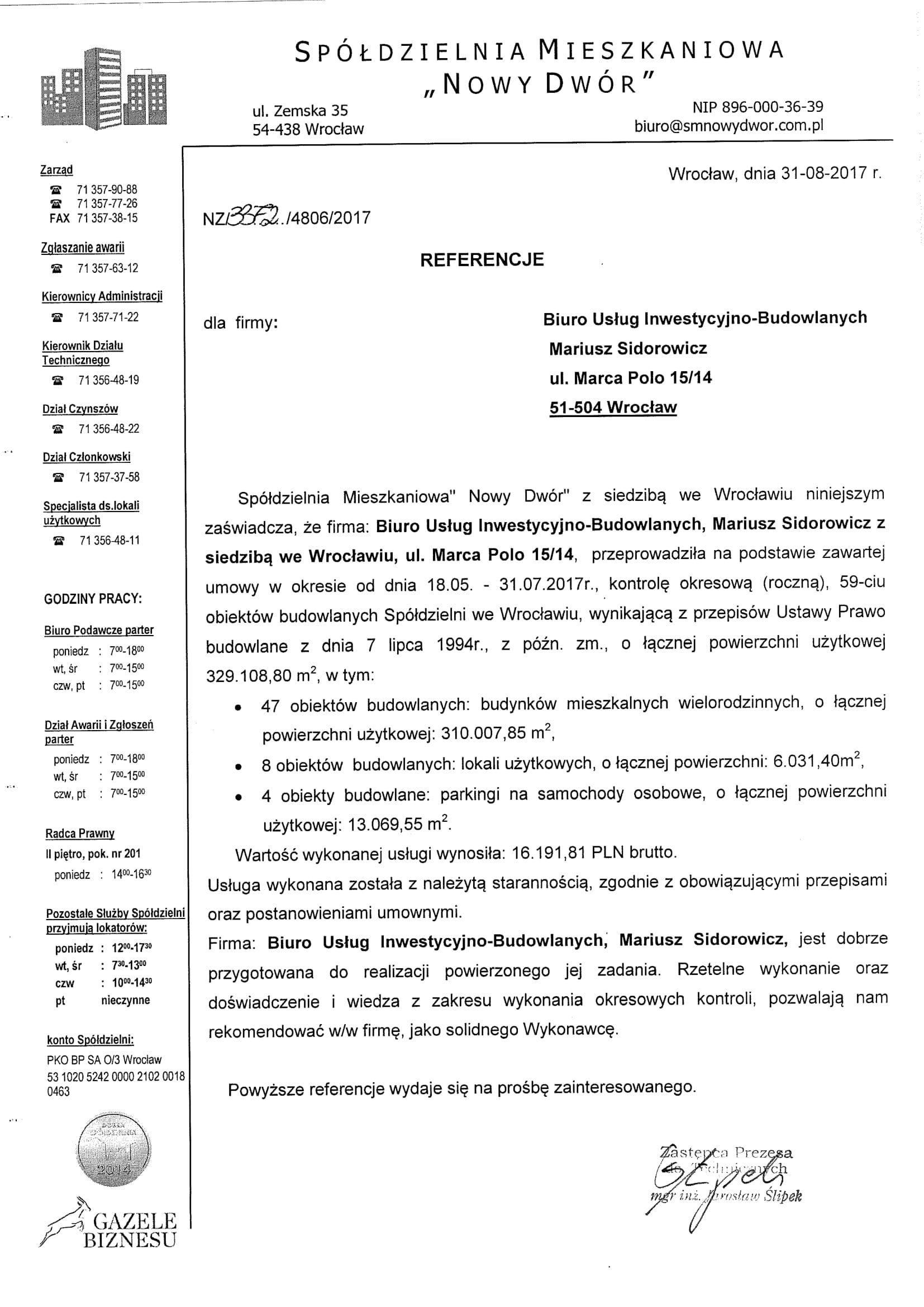 referencja 2017 SM Nowy Dwór